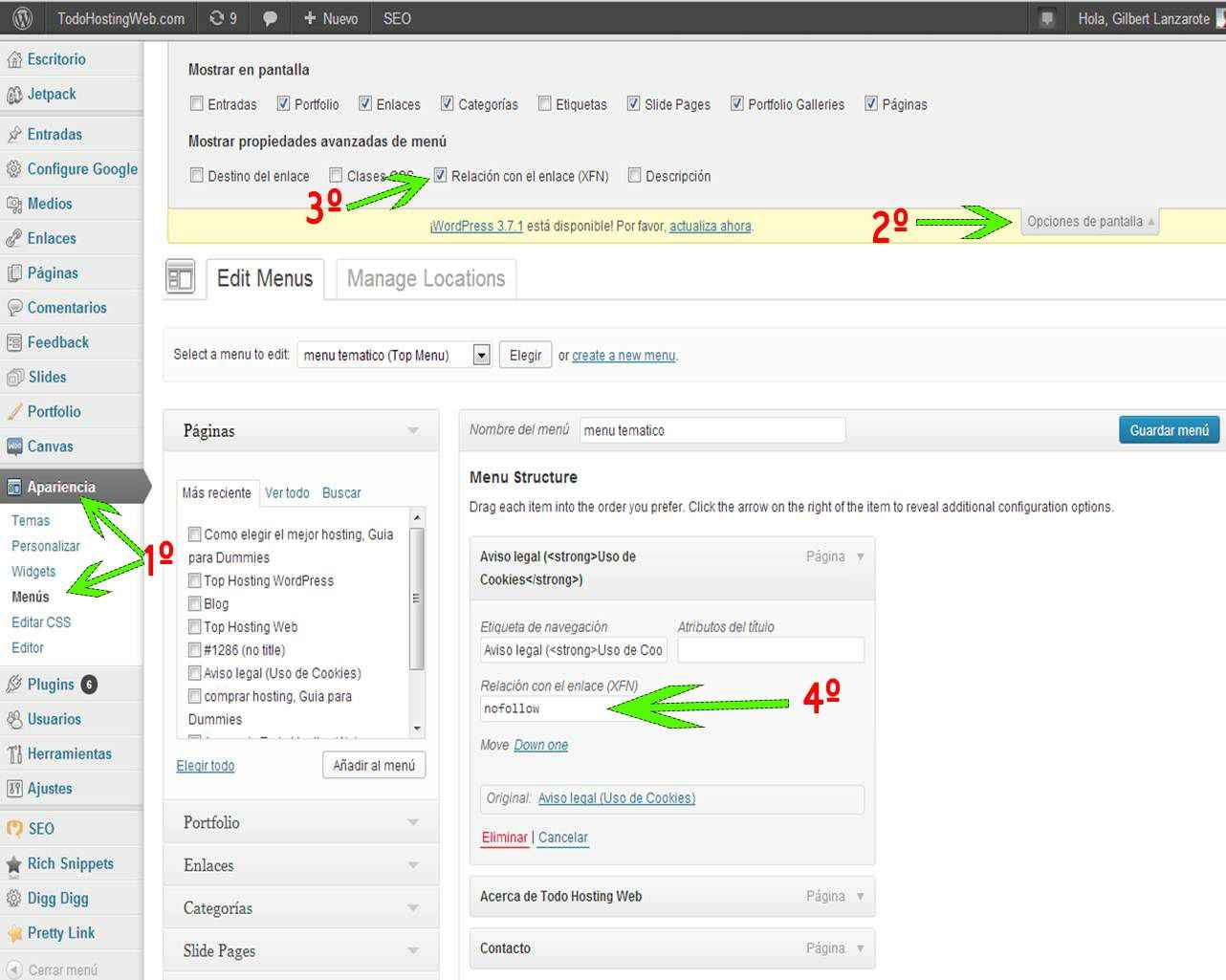enlaces no follow en el menu wordpress