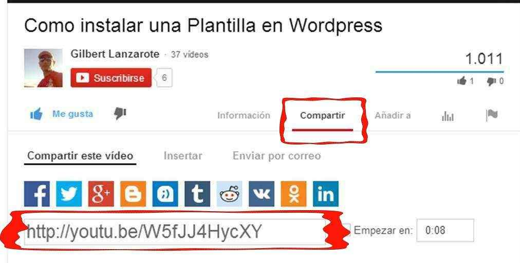 como compartir video youtube