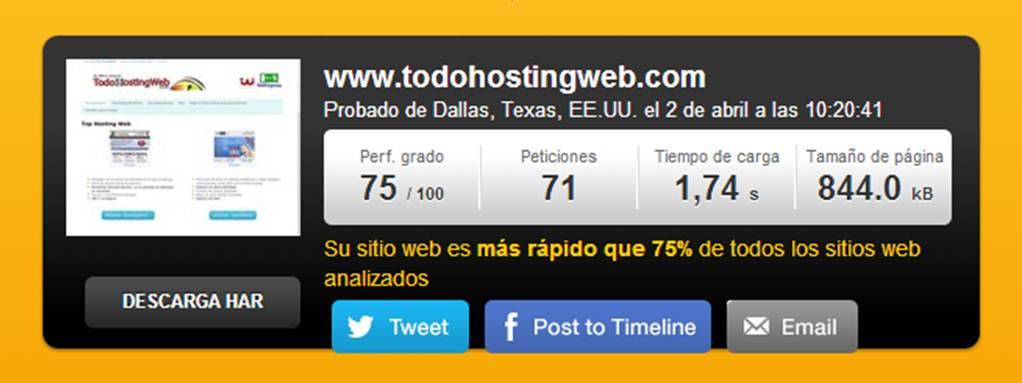 test de velocidad de todo hosting web