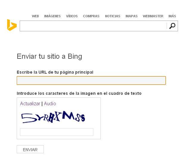como enviar tu sitio a bing