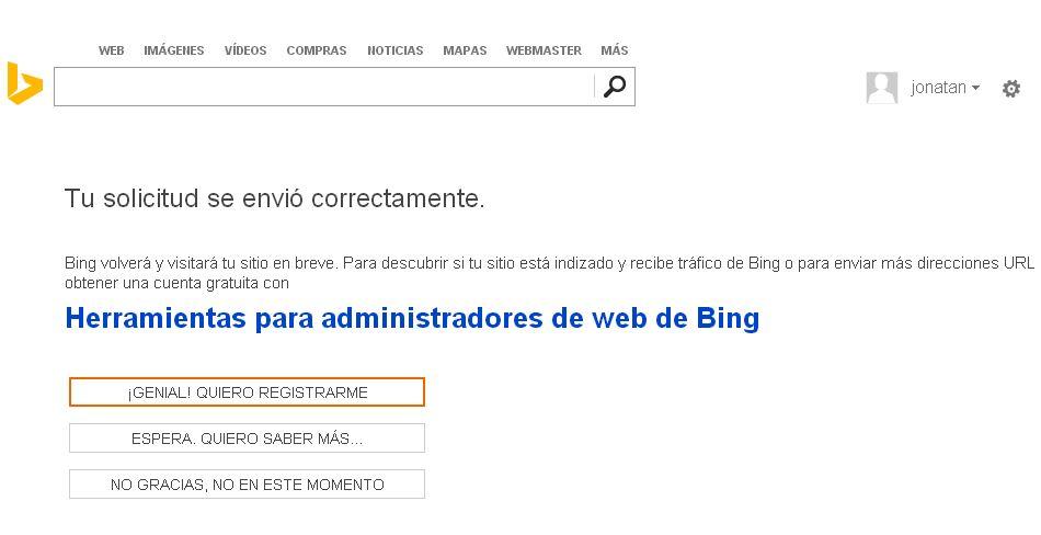 herramientas para administradores de web de bing